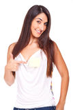 young woman with post-it chest Stock Images