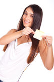 Young woman with post it in the hands Royalty Free Stock Image