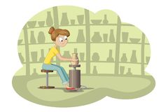 Young Woman In Pottery. Cartoon vector illustration royalty free illustration