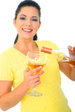 Young Woman Pouring Wine Royalty Free Stock Image
