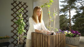 A young woman pours ground in the container and planting the seedlings on the balcony. stock video footage