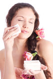 Young woman with powder tender portrait Royalty Free Stock Images