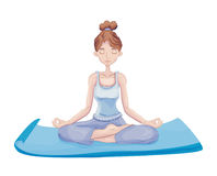 Young woman practice yoga, sitting in the Lotus position on the Mat. Meditation. Active lifestyle and sport activities Royalty Free Stock Photography