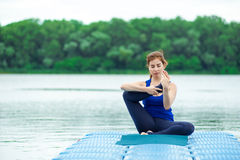 Young woman practicing advanced yoga fitness workout 29 Royalty Free Stock Images