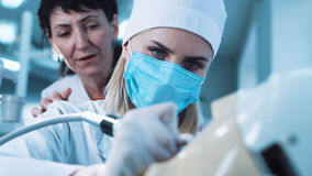 Young woman practicing dental activity Stock Images