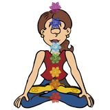 Young woman practicing mindfulness with line of chakras. stock illustration