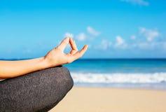 Young woman practicing morning meditation yoga Stock Photos