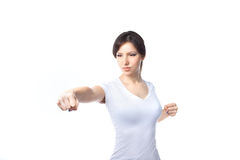 Young woman practicing self defense Royalty Free Stock Photo