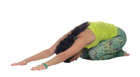 Young woman practicing yoga, cobra position, isolated Royalty Free Stock Photo