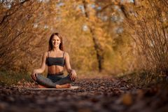 Young woman practicing yoga exercise at autumn park with yellow leaves. Sports and recreation lifestyle. Young woman practicing yoga exercise in aun park with royalty free stock images