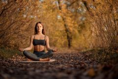 Young woman practicing yoga exercise in autumn park with yellow leaves. Sports and recreation lifestyle stock photos