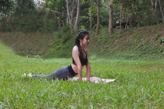 Young woman practicing yoga exercises outdoor in park,  relax in Royalty Free Stock Photos