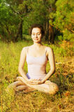 Young woman practicing yoga in the forest Stock Photos
