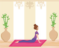 Young woman practicing yoga indoors. Vector Illustration Stock Photography
