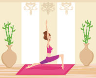Young woman practicing yoga indoors. Vector Illustration Royalty Free Stock Photo