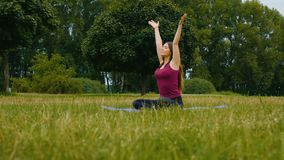 Young beautiful woman practicing yoga outdoor. Wellness concept. Calmness and relax, woman happiness. Young woman practicing yoga outdoor. Wellness concept stock video footage