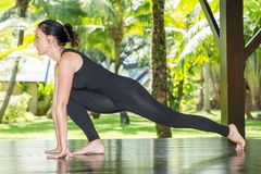 Young woman is practicing yoga and pilates on nature. Royalty Free Stock Photography