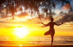 Young woman practicing yoga by the sea beach at sunset. Nature. Stock Photo
