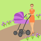 Young woman with pram walking in park. Vector illustration stock illustration