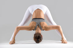 Young woman in Prasarita Padottanasana pose, grey studio backgro Royalty Free Stock Photo