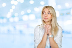 Young woman praying. Looking up Royalty Free Stock Photos