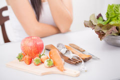 Young woman preferring food Stock Photo