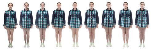 Young woman during pregnancy in plaid shirt. Caucasian woman during pregnancy in plaid shirt on white background royalty free stock photo
