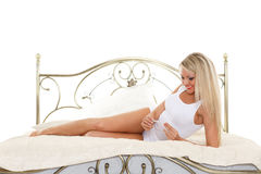 Young woman with pregnancy test. Stock Photography
