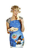 Young woman prepared cookies for Xmas Stock Image