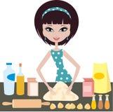 Young woman prepares dough Royalty Free Stock Photo