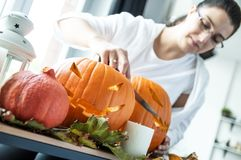 Young woman prepares pumpkins as decoration royalty free stock images