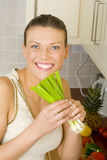 Woman preparing healthy food Stock Image
