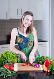 Young woman preparing healthy vegetables Royalty Free Stock Photography