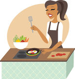 Young woman preparing meal Stock Photo