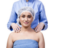 The young woman preparing for plastic surgery isolated on white Royalty Free Stock Photos