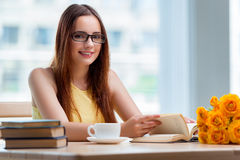 The young woman preparing for school exams. Young woman preparing for school exams Royalty Free Stock Photography