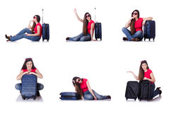 The young woman preparing for summer vacation Stock Image