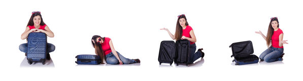 The young woman preparing for summer vacation Royalty Free Stock Photos