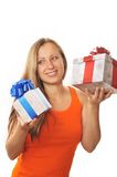 Young woman with present Royalty Free Stock Photo