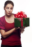 Young woman with a present Stock Image