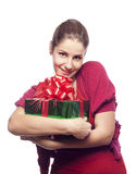 Young woman with present Stock Photography