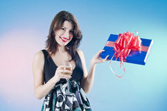 Young woman with present Stock Image