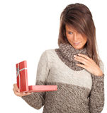 Young woman with present box Royalty Free Stock Image