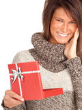Young woman with present box Royalty Free Stock Photography