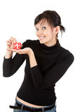 Young woman with present box Stock Photography