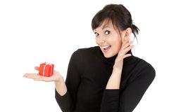 Young woman with present box Royalty Free Stock Photos