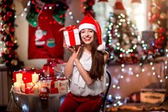 Young woman with present box on Christmas Royalty Free Stock Photography