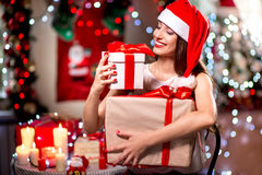 Young woman with present box on Christmas Royalty Free Stock Photos