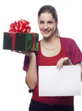 Young woman with present holding empty blank Stock Images