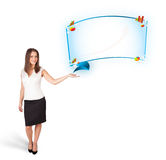 Young woman presenting abstract copy space with graphs and diagr Stock Photos